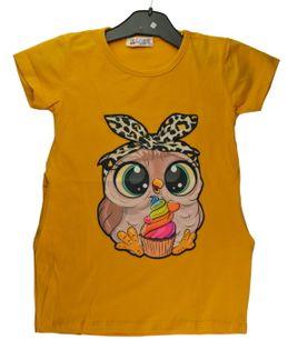 Tunika/sukienka Sowa żółta, bawełna roz.134