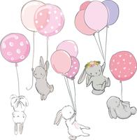 NAKLEJKI KRÓLIKI dziecko zające balony ZESTAW ścienne dziecięce M