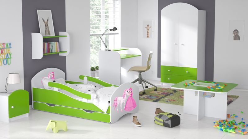 Łóżko dziecięce 140x70 biało-zielone/limonkowe materac gratis zdjęcie 7