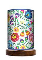 Folk kwiaty Lampa stołowa lampka nocna drewniana podstawa folklor
