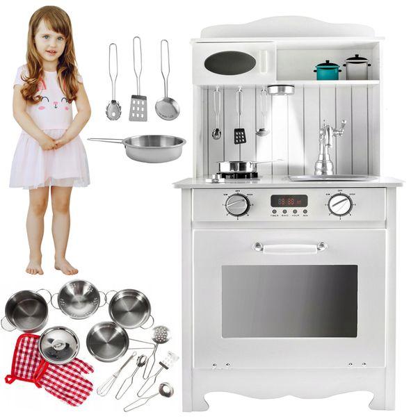 Kuchnia Drewniana Dla Dzieci z Oświetleniem + metalowe garnki U31G zdjęcie 13