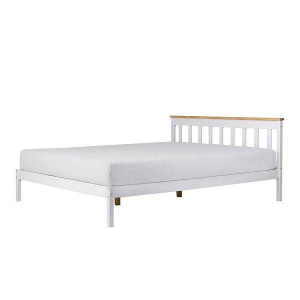 łóżko Klasyczne Drewniane Tully 160x200 Cm Białe Ze Stelażem