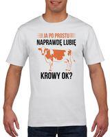 Koszulka męska Ja po prostu lubię krowy ok? S Biały