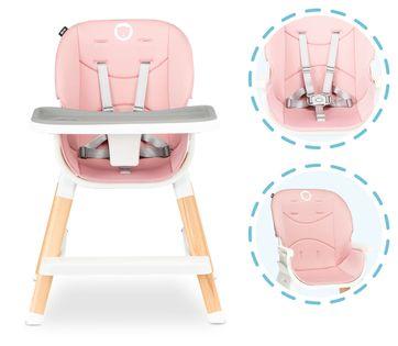 Krzesełko drewniane do karmienia 4w1 Lionelo Mona Bubblegum