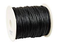 SZNUREK bawełniany woskowany 2mm czarny 50m