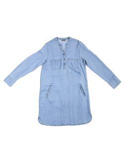 PEPCO Damska niebieska koszulowa sukienka z lyocellu 44 Niebieski