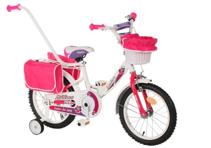 ROWEREK Lillies 16 Limber dla dziewczynki miejski Rower + kosz + sakwy zdjęcie 9