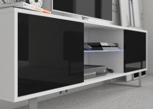 Szafka RTV stolik 160 metalowe nogi biały mat/połysk na Arena.pl