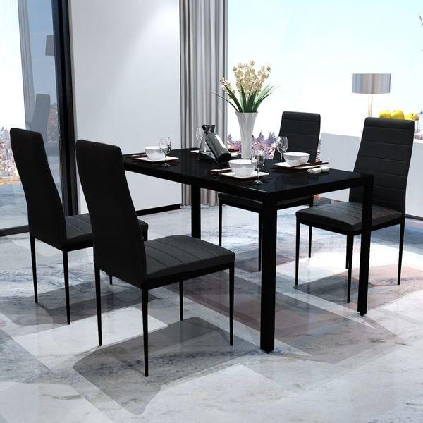 Meble Do Jadalni Stół 4 Krzesła Zestaw Czarne