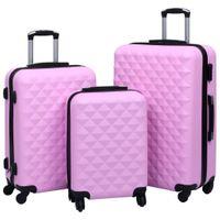 Zestaw twardych walizek na kółkach 3 szt. różowy ABS VidaXL
