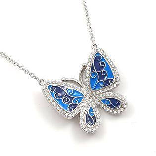 Naszyjnik srebrny rodowany motyl niebieski