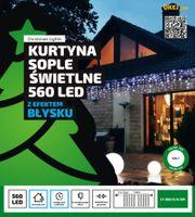Kurtyna świetlna 12m x 0,5m • 560 LED • efekt FLASH • z gniazdem • zewnętrzne lampki choinkowe NR 1813