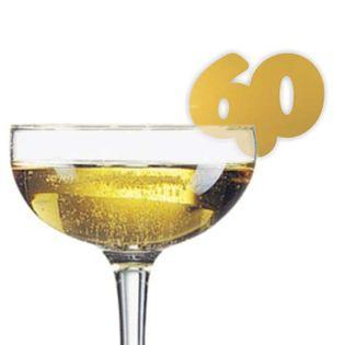 """Dekoracja na kieliszki """"Urodziny 60"""", złota, 10 szt"""