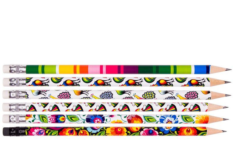 Komplet 6 ołówków z wzorami łowickimi zdjęcie 1