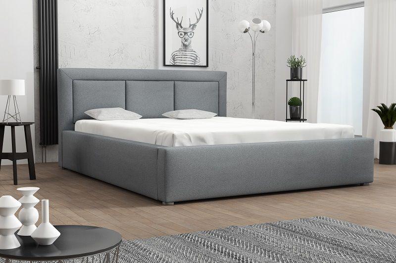 łóżko Tapicerowane Zagłówek Pojemnik Ogranicznik 160x200 Mosse