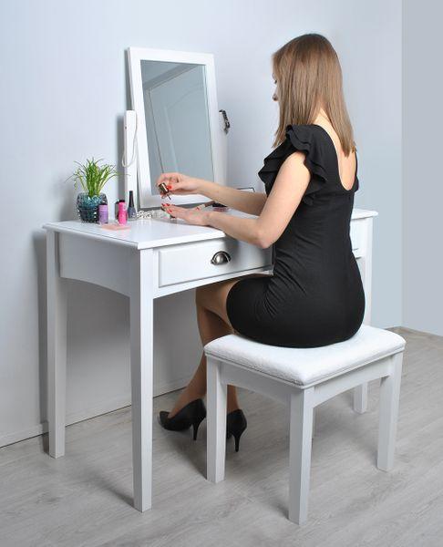 Toaletka Kosmetyczna Lustrem Biała Taboret Biurko 4646 zdjęcie 2