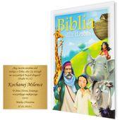 BIBLIA DLA DZIECI B5 z grawerem PREZENT NA CHRZEST KOMUNIĘ zdjęcie 2