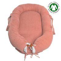 Hi Little One - Kokon gniazdko dla Noworodka z organicznego oddychającego BIO muślinu GOTS NEWBORN NEST SALMON