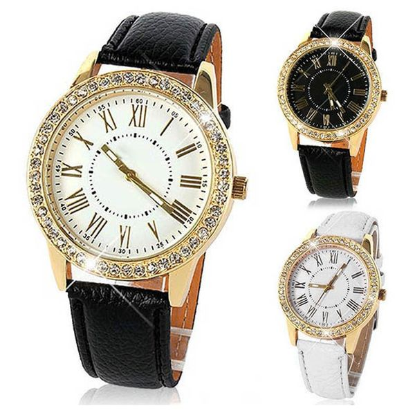 Zegarek damski, Geneva, złoty z kryształkami, 3 kolory, pasek, NOWY na Arena.pl
