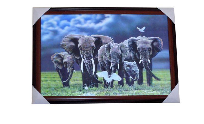 Obraz 3D Słonie zdjęcie 1