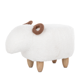 Pufa Tapicerowana Biała Lamb