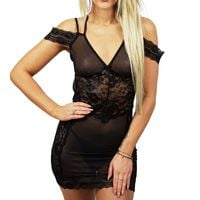 Seksowna koszula nocna damska koronka IRIS BS001206 L/XL czarny