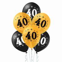 Balony na 40 urodziny czarne i złote, 30 cm 10 szt.
