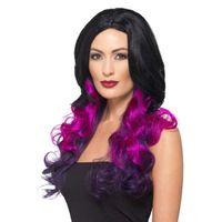 peruka DŁUGIE włosy czarne fioletoowe LOKI fale