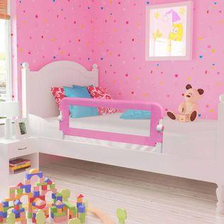 Barierka do łóżeczka dziecięcego, różowa, 120x42 cm, poliester
