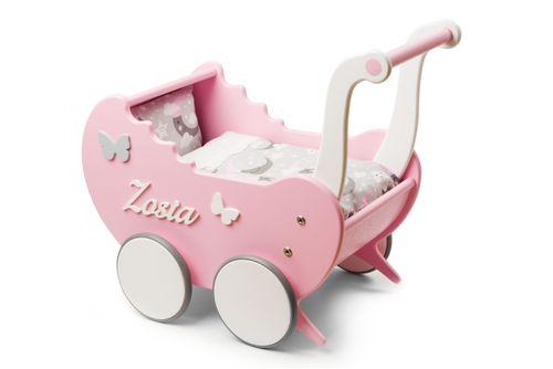 Wózek drewniany dla lalek Light Rainbow prezent dla dziewczynki na Arena.pl
