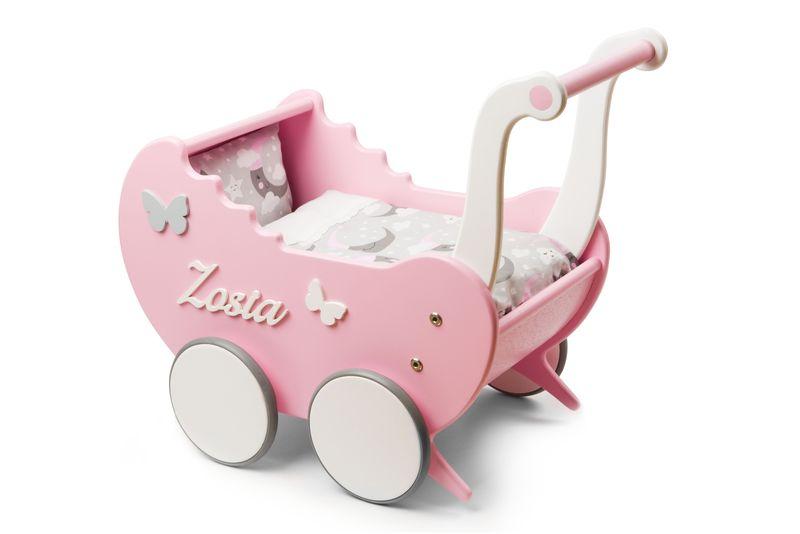 Wózek drewniany dla lalek Light Rainbow prezent dla dziewczynki zdjęcie 2