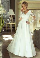 Długa sukienka Luna na ślub cywilny - Biały XL (42)