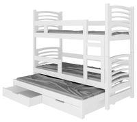 Łóżko piętrowe NIKOŚ 3-osobowe szuflady + materace GRATIS