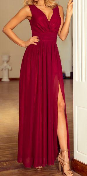 Sukienka Maxi Na Przyjęcie Wesele Bal Bordowa Na Ramiączka 166-3 L 40 zdjęcie 4