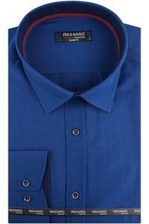Koszula Męska Massaro gładka chabrowa szafirowa z długim rękawem w kroju SLIM FIT A606 L 41 176/182