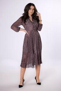 sukienka szmizjerka z plisowanym dołem