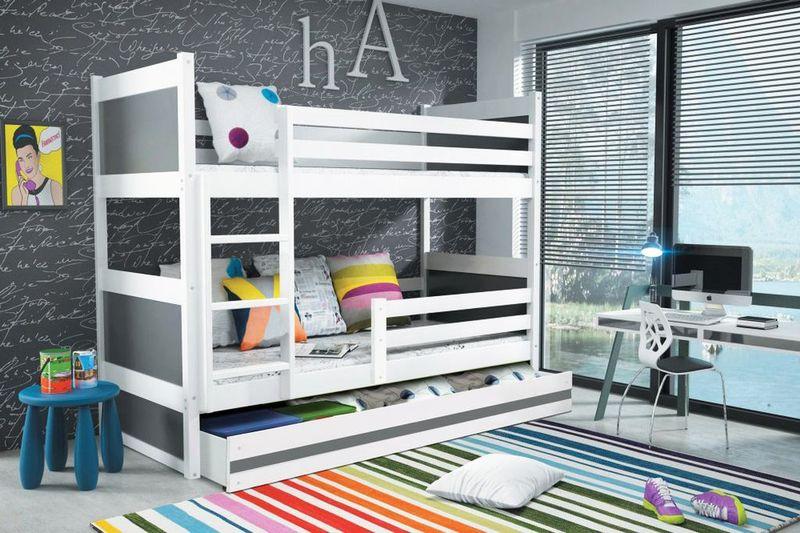 łóżko Piętrowe Dziecięce Rico Dla Dzieci 190x80 Materac Szuflada