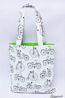 Torba na zakupy szoperka rowery zielona podszewka