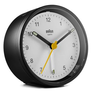 Braun BC12BW Budzik na baterię, analogowy, alarm, drzemka, podświetlenie, szerokość ok. 8 cm