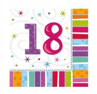 SERWETKI urodziny cyfry 18, 30, 40, 50, 60, 70, 80