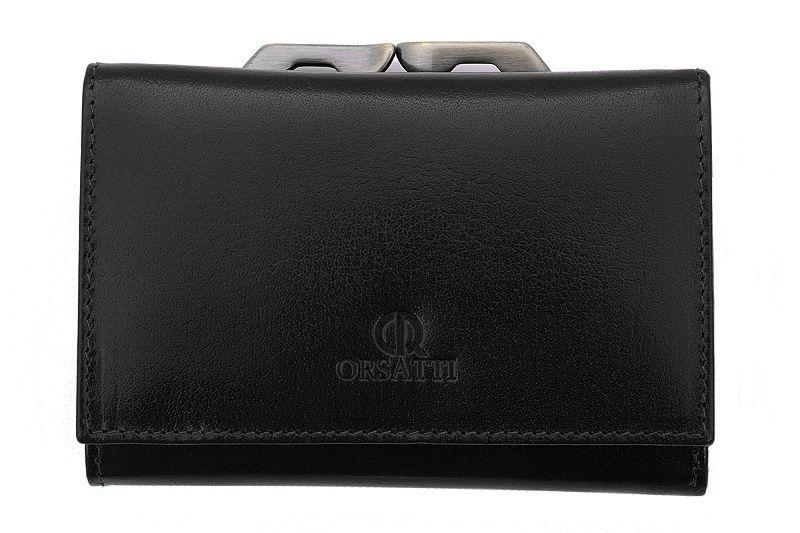 Skórzany portfel damski Orsatti D-02A w kolorze czarnym zdjęcie 1