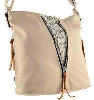 Listonoszka torebka damska beżowa na ramię torba worek z przegródką