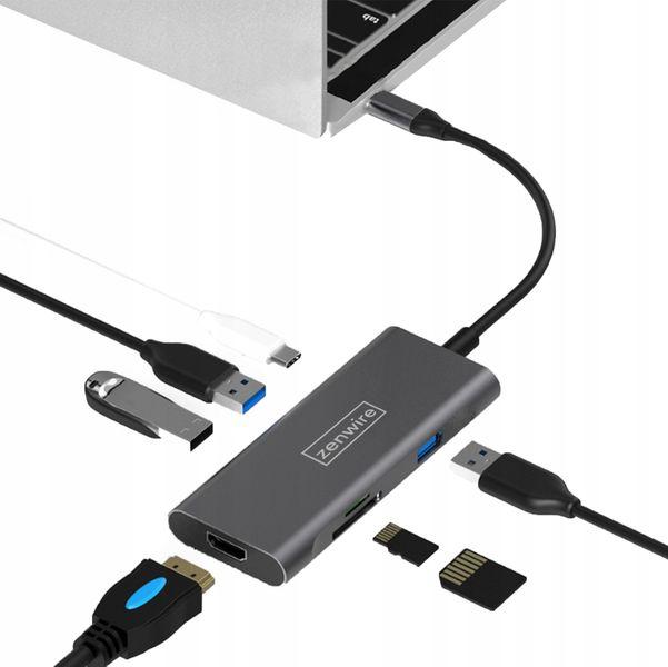 ADAPTER HUB PRZEJŚCIÓWKA 7W1 USB-C  3.1 Thunderbolt 3.0 (HDMI 4K/USB3.0/SD/PD) do Apple MACBOOK Pro Air 13,15,16 Zenwire na Arena.pl