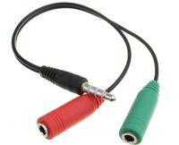 Przejściówka słuchawek i mikrofonu 2x JACK 3,5mm źeński na 1x JACK 3,5mm męski AUX SEPARATOR