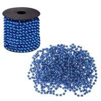 Łańcuch na choinkę perły koraliki 10m 8 mm niebieski