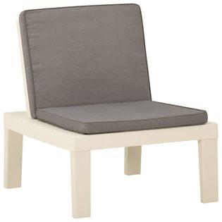Lumarko Siedzisko ogrodowe z poduszką, plastikowe, białe;