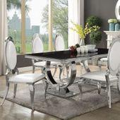 Jadalnia glamour Culto Bianco e Nero II blat  szklany - 200 x 100 + 4 krzesła