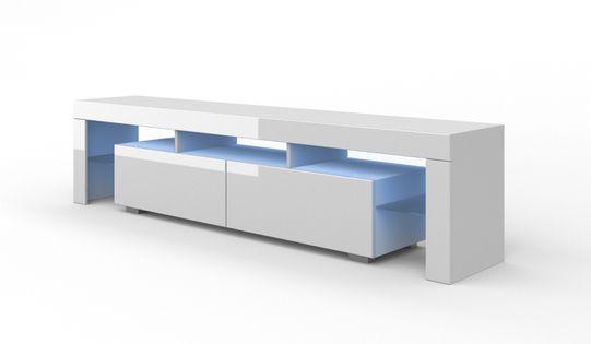 Szafka RTV 190 cm biała wysoki połysk stojąca oświetlenie LED