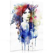Parawan pokojowy, trzyczęściowy, jednostronny, na płótnie Canvas, Watercolor women 110x150