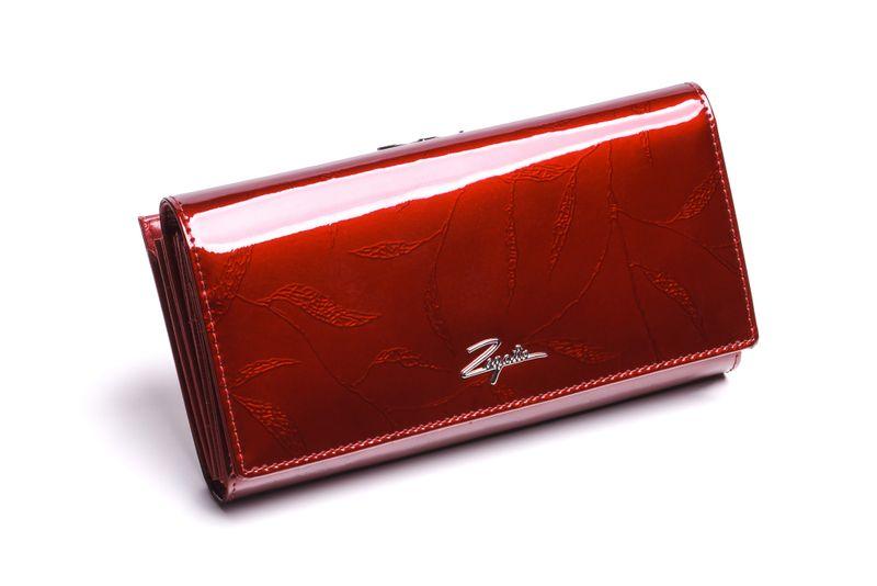 Duży portfel skórzany damski Zagatto czerwony liście RFID ZG-150 Leaf zdjęcie 1